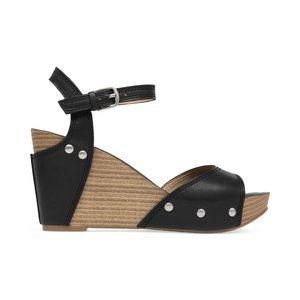 Lucky Brand Wedge Sandal Black W/Stud Details 7.5M